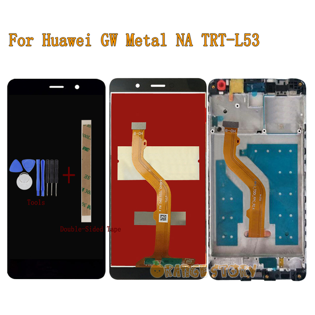 New LCD Display Screen For Huawei GW Metal NA TRT L53 TRT 53 Full LCD Display Touch Screen Monitor Sensor Glass Assembly Frame