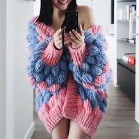 knitting hand knit Mohair cardigan Women sweater coat 2019 Autumn Winter coat Loose cardigan pull women clothing Sweater Female