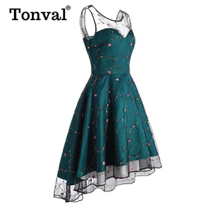 Image 2 - Tonval Floral Embroidered Mesh Sweetheart Party Dress Women Lace Up Back High Low Hem Fit and Flare Ladies Elegant Dresses