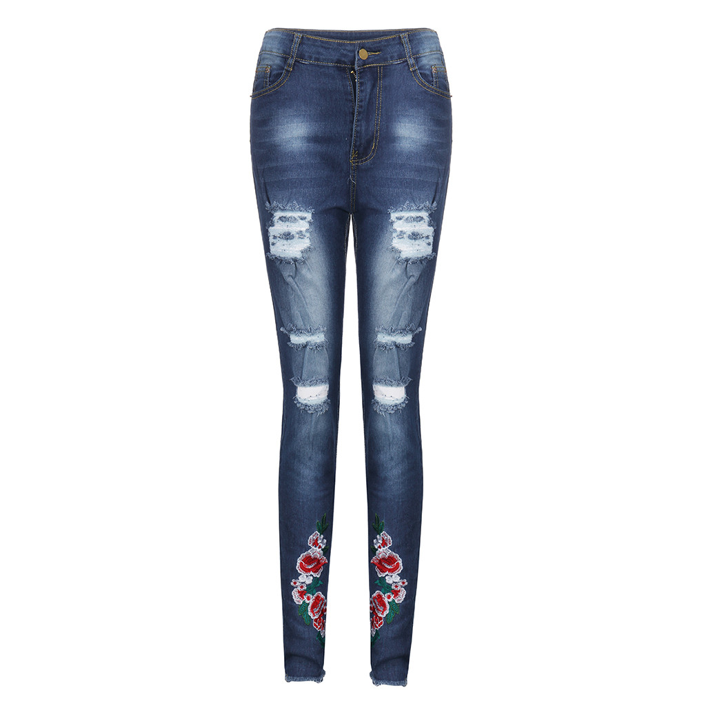 Jaycosin AutumnFashion Ladies Casual Loose Hole Embroidery Jeans Denim Skinny Stretch Trousers Female Wide Elastic Jeans 12#4