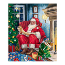 santa claus and snowman Moge Diamond Painting Cross Stitch christmas Full Round New DIY 5D home decorative Mosaic Embroidery