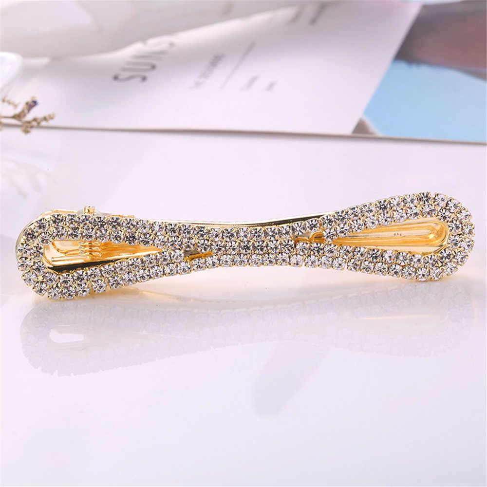 1 PCS Crystal Rhinestone Hairpin For Women Geometric Infinite Hair Clips Bridal Jewelry Accessories
