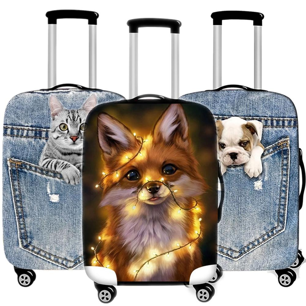 Cute 3D Animal Luggage Protective Cover For Travel Thicken Waterproof Elastic Suitcase Cover For 18-32 Inch XL Travel Accessorie