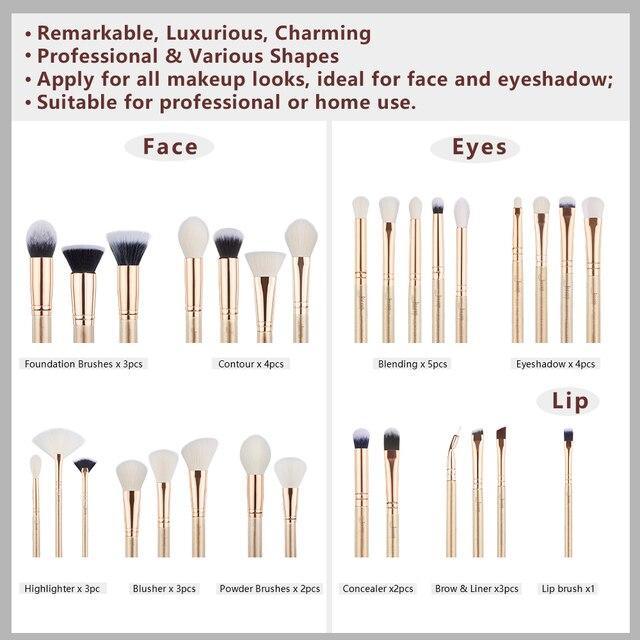 Jessup brush Makeup brush set 6pcs-30pcs Golden / Rose Gold POWDER EYESHADOW CONCERLER foundation brush 4