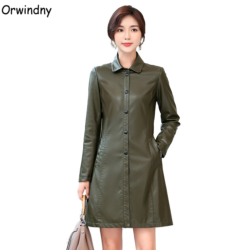Orwindny Spring Women's   Leather   Trench Army Green Long   Leather   Coat For Autumn Winter Slim Fashion Female Jacket Outwear   Suede