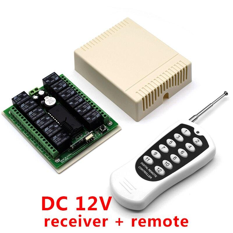 12V DC 12 канальный релейный радиочастотный переключатель, приемник передатчика дистанционного управления 433,92 МГц Пульты ДУ      АлиЭкспресс