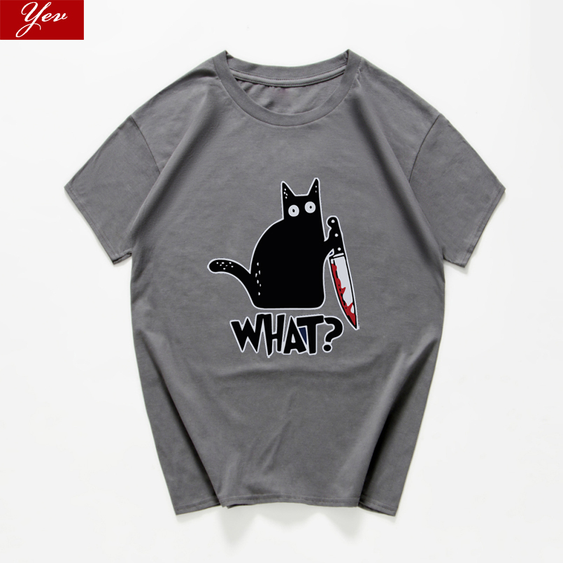 Cat What  Funny T-Shirt Men Vintage Graphic Cat With Knife Unisex Tshirt Men Novelty Streetwear T Shirt Men Homme Men Clothes