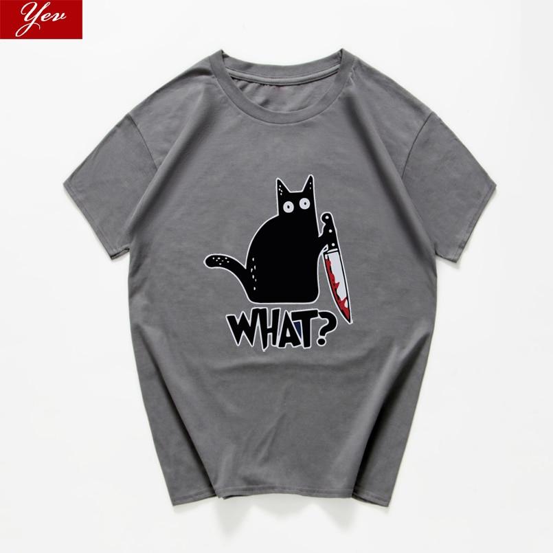 Cat What  Funny T-Shirt Men Vintage Graphic Cat With Knife Unisex Tshirt Men Novelty Streetwear T Shirt Men Homme Men Clothes