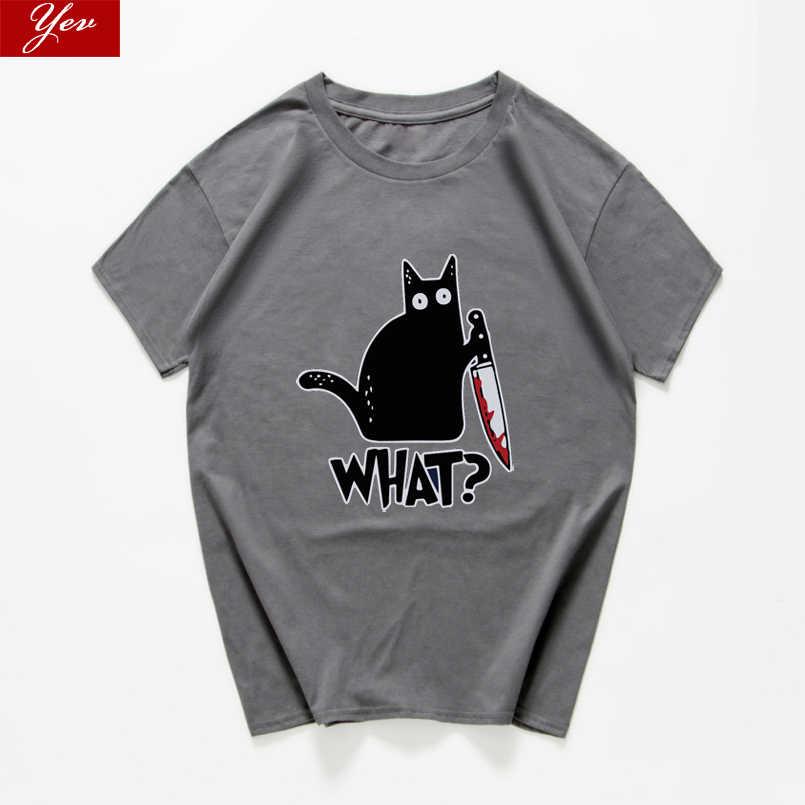 แมวWhatตลกเสื้อยืดผู้ชายVintage Graphic CatมีดUnisexผู้ชายNovelty Streetwearเสื้อยืดผู้ชายHommeชายเสื้อผ้า