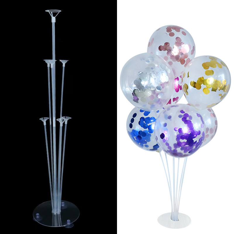<font><b>7</b></font> <font><b>Tubes</b></font> <font><b>Balloons</b></font> <font><b>Stand</b></font> stick <font><b>Balloon</b></font> Column <font><b>Holder</b></font> metallic Confetti latex Balls Kids Birthday Party Wedding Decoration Supplies image