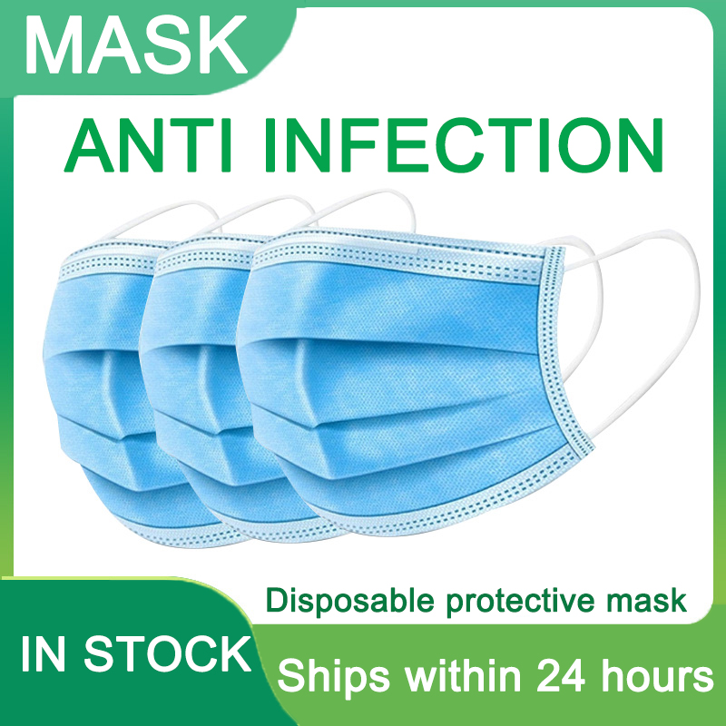 Fast Delivery 2-500pcs Disposable Protective Face Masks 3-layer Anti Bacterial Dustproof Mask Meltblown Cloth Facial Dust Mask