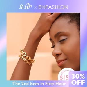 Image 1 - Enfashion Zuivere Vorm Kleine Link Chain Manchet Armbanden Gouden Kleur Messing Armbanden Voor Vrouwen Accessoires Sieraden Bijoux BF182032