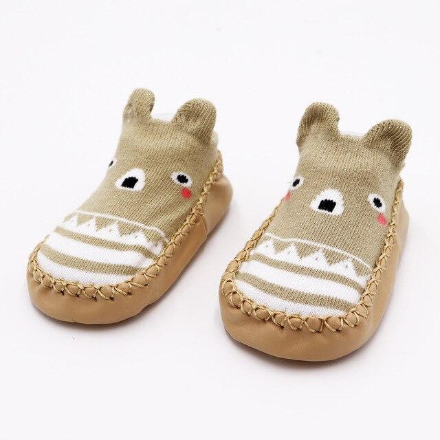 Г. Модные детские носочки с резиновой подошвой, носки для младенцев осенне-зимние детские носки-тапочки для новорожденных нескользящие носки с мягкой подошвой - Цвет: Brown bear