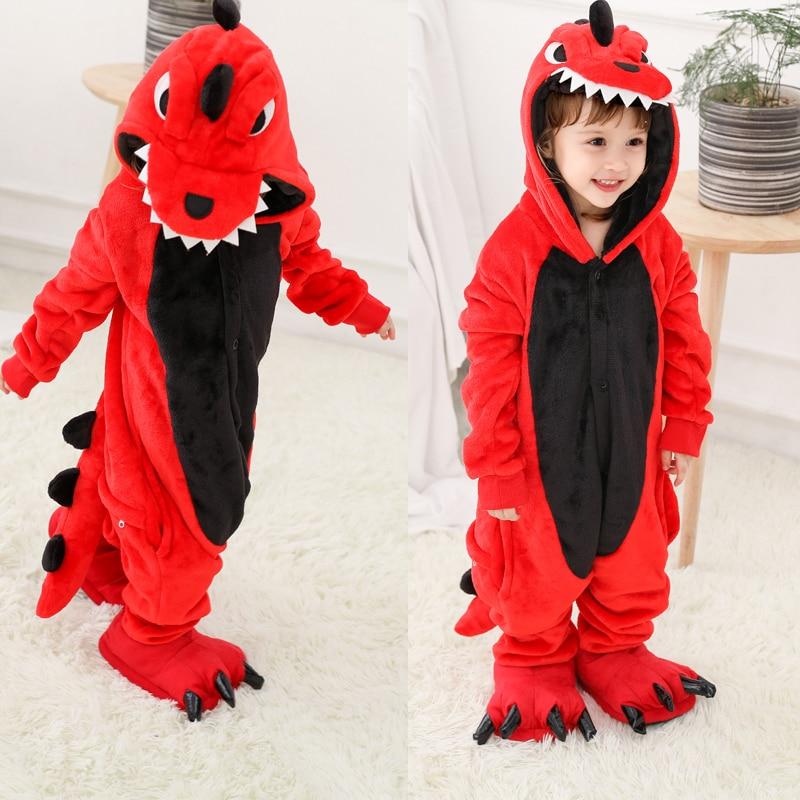 2019 Kigurumi Boys Toddler Animal Dinosaur Pajamas Cartoon Baby Kids Winter Onesie Flannel Stitch Unicornio Sleepwear