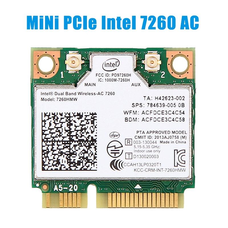 1200mbps sem fio intel 7260 ac wifi cartão 7260hmw metade mini pci-e 2.4g/5ghz bluetooth 4.0 adaptador 802.11ac ipex antenas portátil