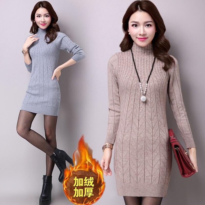 Зимний пуловер стрейч, водолазка, свитер, платье, женское, теплое, вельветовое, плотное, длинное, трикотажное, плотный свитер