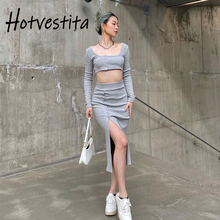 Hotvestita Sexy Matching Two Piece Sets Knitted Sexy Long Sleeve Button Up Crop Top Split Maxi Skirt Autumn Woman Club Outfits