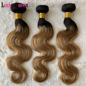 Image 2 - Lucky Queen Brazilian Body Weave Bundles 1b/Burgundy Honey Blonde Ombre Body Wave Non Remy 100% Human Hair Extensions