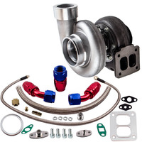 GT45 Universal Turbocharger 1.05 A/R T4/T66 600+HP+Oil Feed & Return Lines kits Turbine Turbolader Turbo V Band Flange