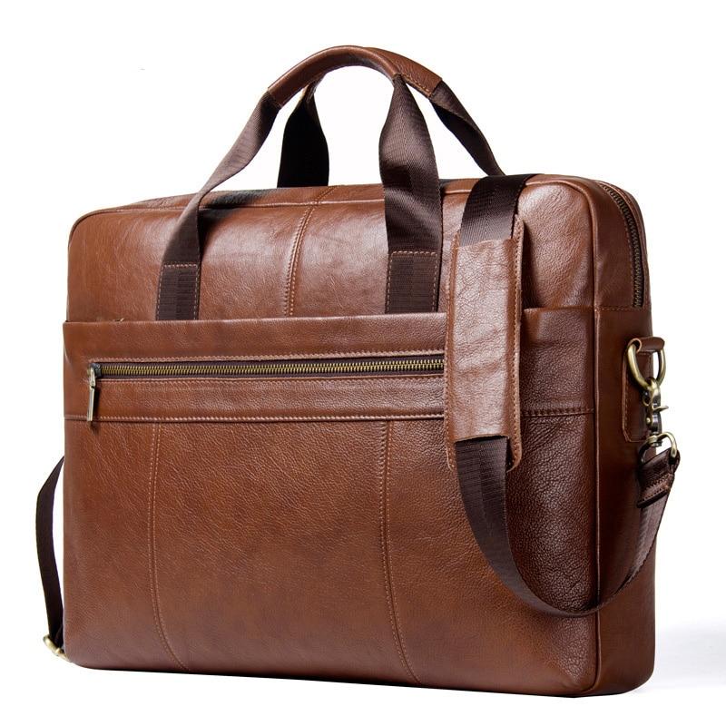 Fashion Men Genuine Leather Briefcase 15.6'' Computer Bag Business Male Shoulder Bag Large Capacity Men Brown Portable Handbag