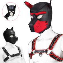 Puppy Play Dog Hood Mask Bdsm Bondage Leather Men's Chest Harness Strap Dog Tail Plug Neck Collar Fetish Dog Role Play Sex Toys(China)