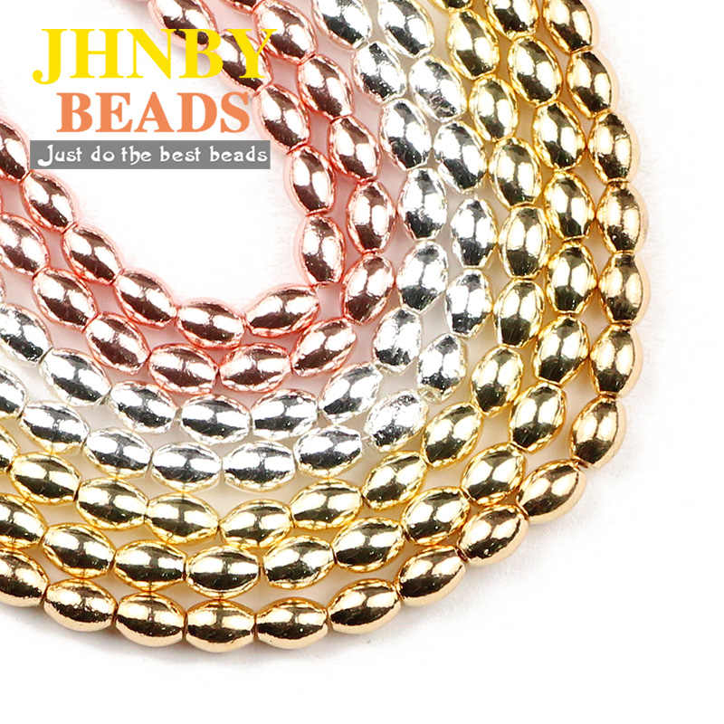JHNBY Oval Shape Hematite 4x6mm Grain rice Gold Silver Natural Stone Spacer loose Beads For Jewelry Making Diy Bracelets 15''
