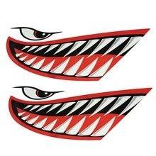 2pcs Waterproof Kayak Sticker Diy Shark Teeth Mouth Stickers Boat Car Truck Accessories