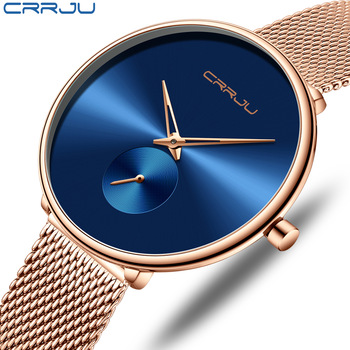 Fashion Women Watch Luxury CRRJU Casual Simple Ladies Daily Dress Mesh Wristwatch Minimalist Waterproof Quartz Female Clock 1