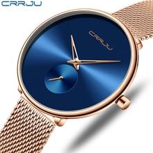 ساعة حريمي أنيقة فاخرة CRRJU عادية بسيطة السيدات فستان يومي شبكة ساعة اليد الحد الأدنى مقاوم للماء ساعة كوارتز أنثى