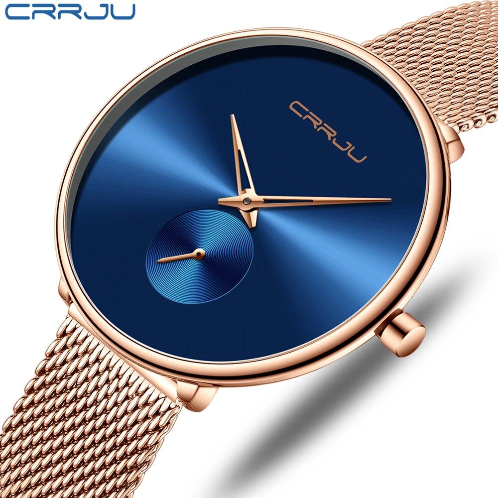 Fashion Women Watch Luxury CRRJU Casual Simple Ladies Daily Dress Mesh Wristwatch Minimalist Waterproof Quartz Female Clock