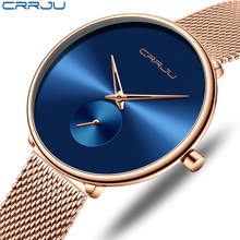 Moda damska zegarek luksusowy CRRJU Casual proste panie sukienka na co dzień Mesh zegarek minimalistyczny wodoodporny zegar kwarcowy kobiet