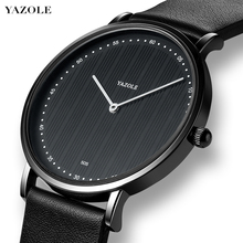YAZOLE Top Brand Fashion Men Watch Stripe Large Dial Measuring Time Business Male Clock Simple Quartz Leather Sport Wristwatch yazole men black wristwatch simple pointer dial quartz watch waterproof fashion business couple watches montre homme yd278