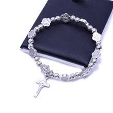 Elastic jesus cross bracelet vintage silver color jewelry rosary