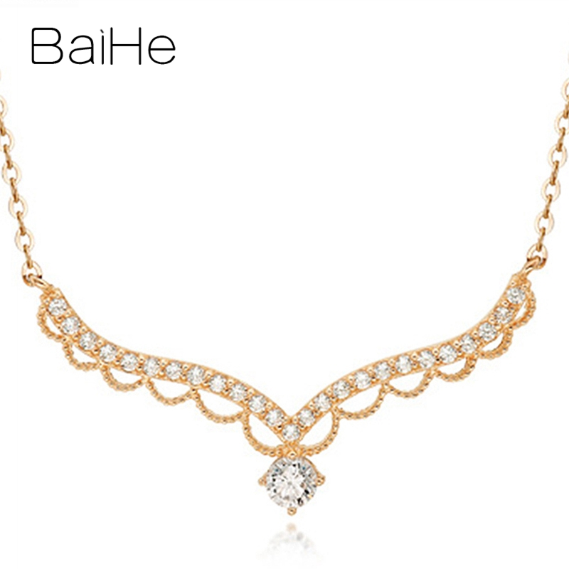 BAIHE Solid 18K Rose/White/Yellow Gold Certified H/SI 0.20ct+0.15ct Natural Diamonds Women Fine Jewelry Wedding Gift Necklaces