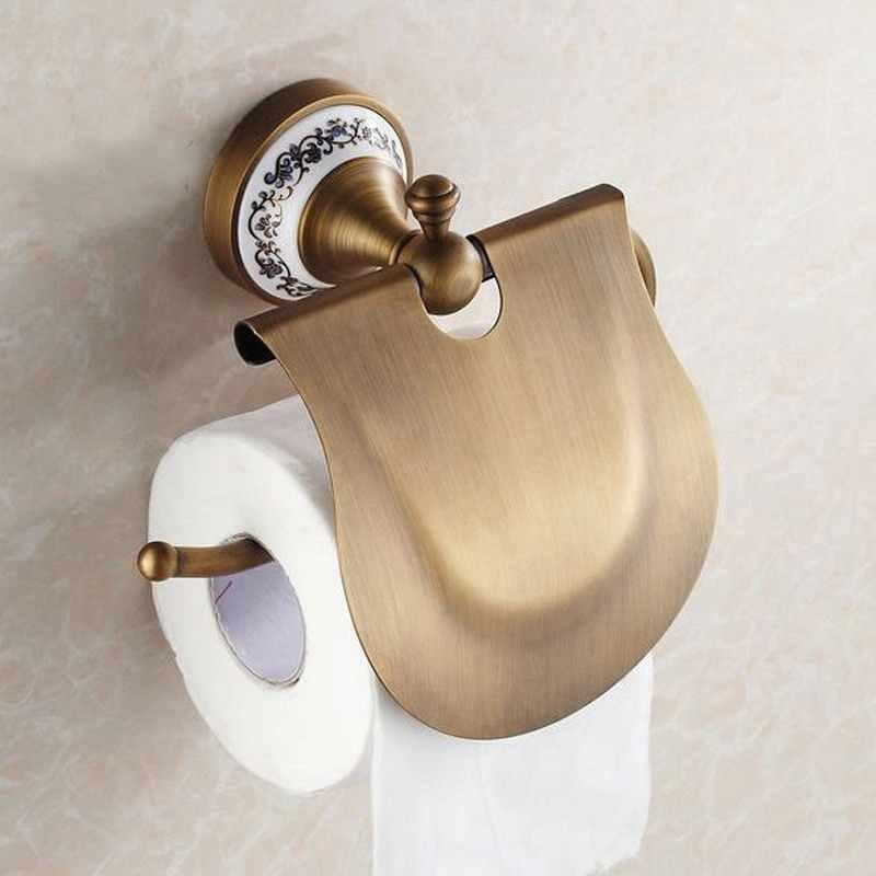 Antyczny mosiądz podstawa ceramiczna łazienka zestaw akcesoriów, wieszak ścienny, uchwyt na papier, wieszak ręczniki, mydło kosz, łazienka sprzętu zestaw Kxz007