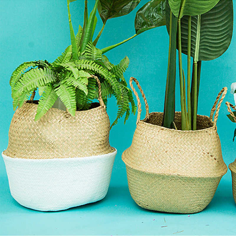 Natural Seagrass Basket Foldable Laundry Basket Bamboo Woven Storage Basket Wicker Rattan Flower Pot Handmade Straw Plant Basket