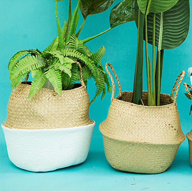 Natural Seagrass Basket Foldable Laundry Basket Bamboo Woven Storage Basket Wicker Rattan Flower Pot Handmade Straw Plant Basket-in Storage Baskets from Home & Garden