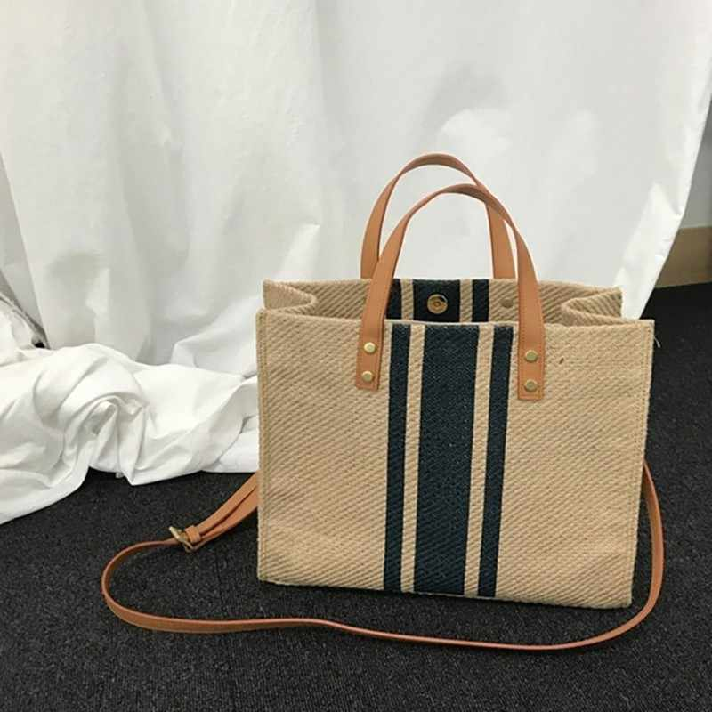 Striped Canvas Tote 2019 Korean Style Large Capacity Ladies Multi-function Eco Portable Shopping Bags