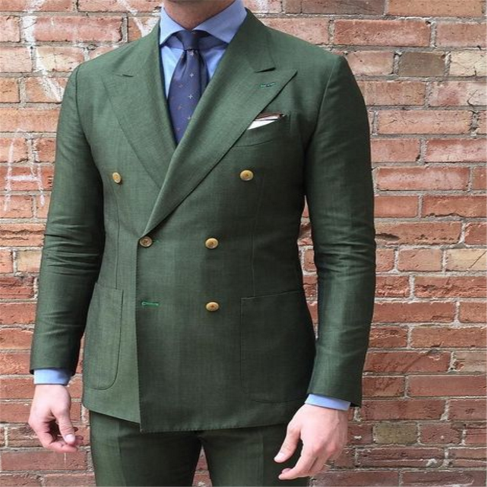 New Men's Suit Smolking Noivo Terno Slim Fit Easculino Evening Suits For Men Groom Green Formal Prom Party Suit Tuxedo Costume H