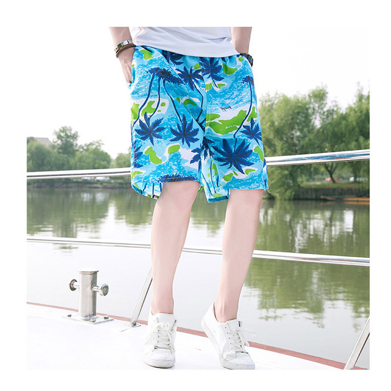 DENNYLITER Mens Shorts Brand New Summer Casual Shorts Men Print Quick Dry Loose Elastic Waist Breathable Beach Shorts Plus Size