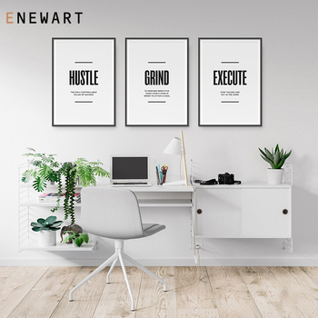 Motivational Office Decoration Office Definition Signs Hustle Grind Execute Print Inspirational Posters Entrepreneur Wall Art image