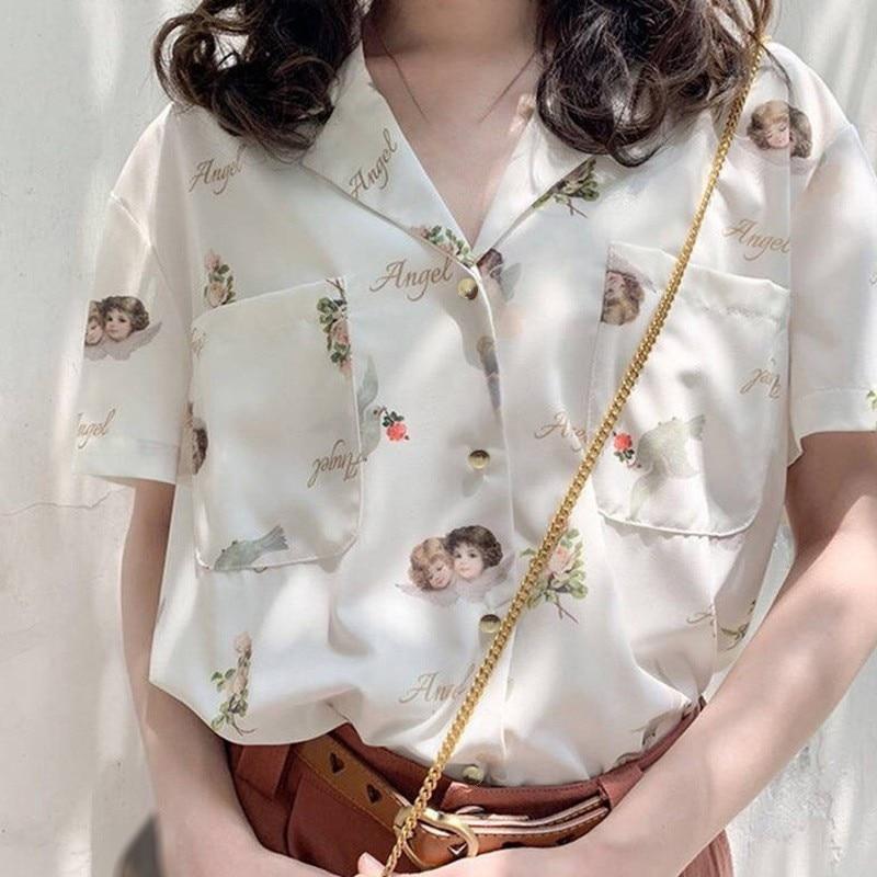 Новые шифоновые Женские повседневные блузки одного размера женские Гавайские модные цветочные рубашки с коротким рукавом женские летние с...