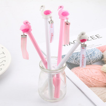 24 PCS Creative Stationery Cartoon Black Water-based Pen Pink Flamingo  Neutral Student kawaii