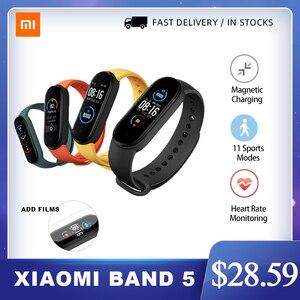 Фитнес-трекер Xiaomi Mi Band 5 NFC Bluetooth 5,0 водонепроницаемый Miband5 смарт-браслет 4 AMOLED экран пульсометр Mi Band