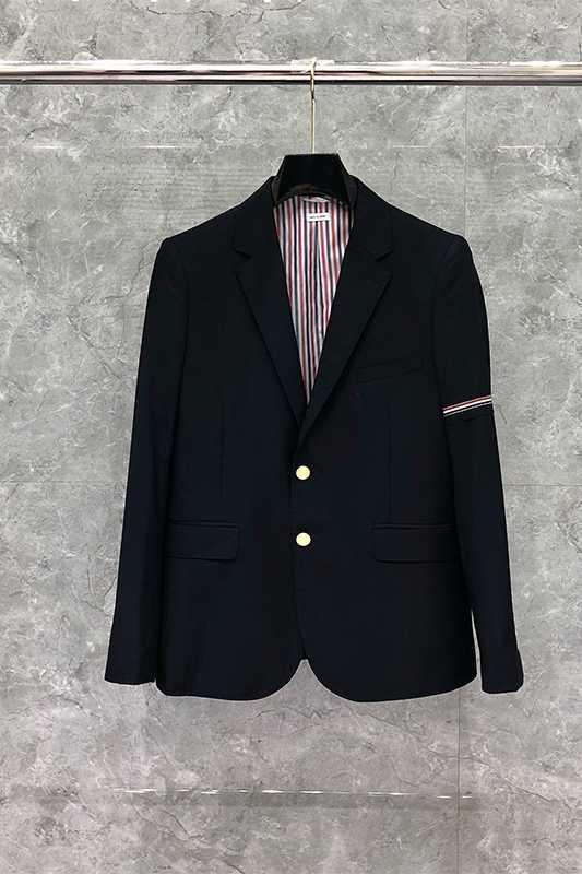 2020 moda TB THOM marka Blazer mężczyźni brytyjski garnitur Casual Slim Fit męska kurtka wiosną i jesienią pojedyncze łuszcz bawełna płaszcz