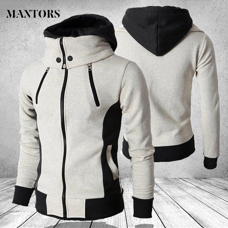 Fermuar kapüşonlu Sweatshirt erkekler moda 2020 bahar rahat Patchwork polar sıcak Hoodies tişörtü erkek streetwear ceket ceketler