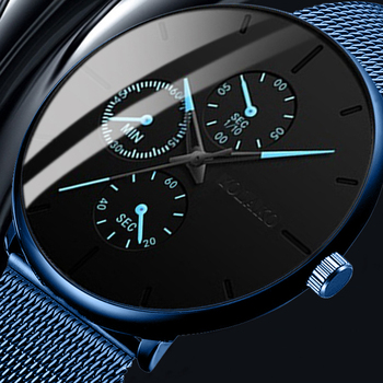Elegant Blue Men Wristwatches 2020 Minimalist Ultra Thin Stainless Steel Mest Belt Wrist Watch Male Clock Hour reloj hombre