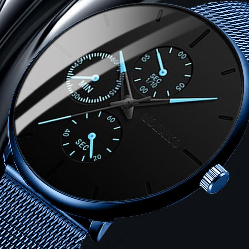 Geneva Mens Business Quartz Watch Luxury Blue Mesh Watch Casual Quartz Watch Fashion Simple Men Watch Gifts Relogio Masculino