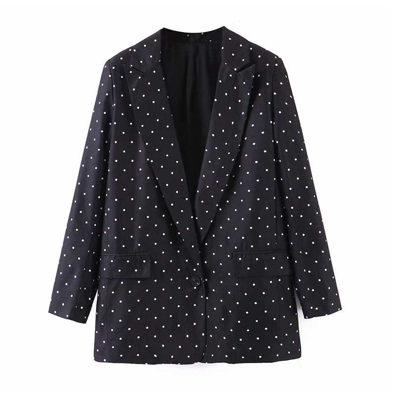 Vintage Polka Dot Print Blazer Pockets Notched Collar Long Sleeve Coat Outerwear Female Retro Loose Casaco Feminines Feminino
