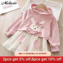 Melario Girls Dresses Autumn Casual Baby Girls Clothes Kids Dresses for Girls Cotton Mesh Birthday Princess Dress New Daily Wear